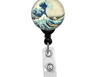 Hokusai Great Wave Off Kanagawa Retractable Badge Reel Custom ID Name Badge Holder