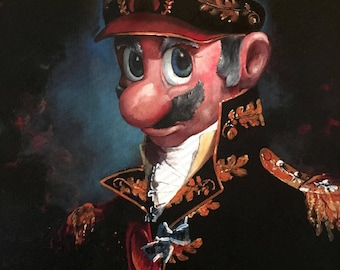 Mario Parody - Print Poster Canvas - Funny Super Mario Bros Kart Print General Captain Gift Fan Art for Game Room Video Gamer - Altered Art