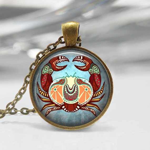 Cancer zodiac glass pendant cancer zodiac jewelry zodiac aloadofball Gallery