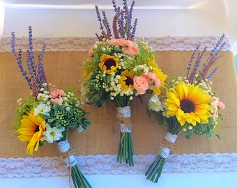 Wildflower Bridal Bouquet, wildflower wedding, sunflower bouquet, lavender bouquet
