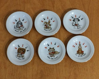 Poker Plates - Animal Playing Card with a Poker Sayings - Vintage