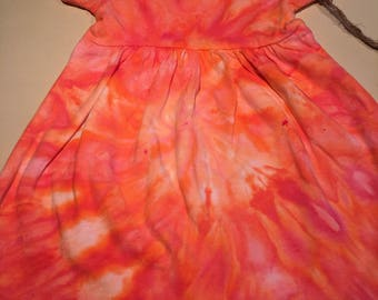 6-12 mth peach coral ice dyed dress 6-12mth