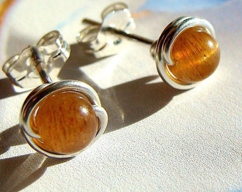 Sunstone Earrings Tiny Sunstone Post Earrings in Sterling Silver Stud Earrings Studs