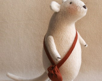DIY Kit and pattern Mouse with a bag Tilda style artistic doll making supplies with fleece for rag softie stuffed toy