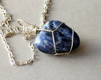 Blue Stone Necklace - Silver Wire Wrapped Necklace - Sodalite Necklace - Silver Necklace with Blue Gemstone - Chakra Necklace