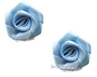 Set of 5 roses blue fabric embellishment scrapbooking card making *.
