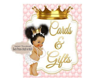 PRINTABLE Princess Baby Shower Gift Table Sign Prints 16X20 8X10, Royal Baby Shower Decor, Royal Collection, RP-001