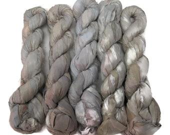 New! Sari Silk Ribbon, 100g , Silver/Taupe