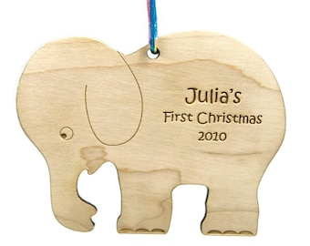Baby First Christmas Ornament Elephant Wooden Personalized Custom Christmas Gift