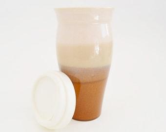 IN STOCK. Stoneware Travel Mug with Silicone Lid and Sleeve, Large To Go Coffee Mug, 24 oz Brown Cream Eco Mug