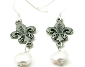 Fleur De Lis Pearl Earrings