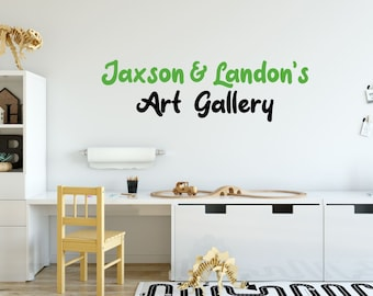 Art Gallery Wall Decal - Personalized Art Gallery Decal - Name Wall Decal - Kids Playroom Decal - Childrens Playroom Wall Decal