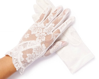 Lacey White Floral Overlay Lace Gloves