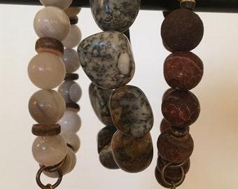 Natural Stone Stretch Bracelet Trio