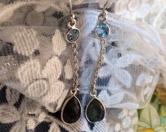 Handcrafted Sterling Labradorite and Topaz Gemstone Earrings
