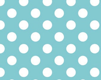 Aqua Medium Dots Fabric by Riley Blake Designs - by the Yard - 1 Yard - Aqua Dots - Aqua and White