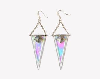 Grunge holographic long earrings   Geometric triangles sterling silver earrings   Aesthetic UFO glass earrings    90's Tumblr earrings