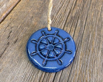 Nautical ornament – Pottery hanging ship's wheel, Wall decor, Ceramic, Stoneware, Handmade, Slab rolled