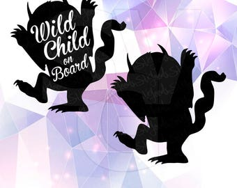 SVG DXF Where the Wild Things are Monster Party Supply Vector Cut File Cricut Design Silhouette Cameo Decoration Stencil Vinyl Tshirt Decal