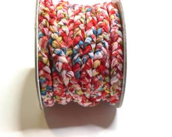 Flat braided fiber synthetic stretch fabric Ribbon (8 / 9mm)-Fuchsia - by 50cm - RUTRPL15FUC159