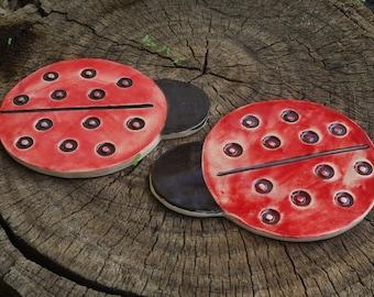 Ceramic Lady Bug. Pair Of Ladybugs. Red Ladybug. Garden Decor. Ceramic  Sculpture. Ceramic Animals. Animal Figure. Animal Sculpture. Coasters