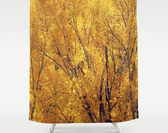 Fabric Shower Curtain  - Colorado Gold, Wilderness, Trees, Treescape, Rustic Decor, Nature Photography, bathroom,