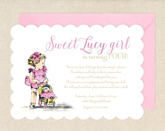 Vintage Baby Doll Party Invitations
