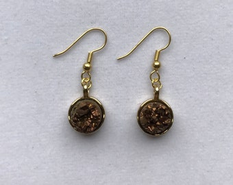 Brown and Gold Druzy Earrings