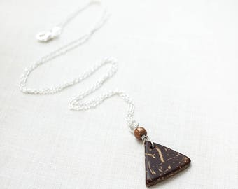 Mothers Day Gift Idea Essential Oil Diffuser Necklace Coconut Triangle Charm Aromatherapy Necklace Essential Oil Necklace 925 Silver Chain
