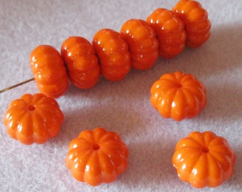 Orange Solid Ribbed Pumpkin Beads Melon 15mm x 9mm Acrylic Lucite 815