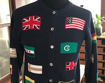 Vintage 1990's Handmade Flag Button Sweater