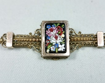 Antique Filigree Micro Mosaic Flower Bar Brooch Pin, Italian Grand Tour Souvenir Jewelry
