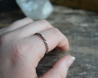 Twist Stacking Ring Sterling Silver Stacking Ring Silver Twist Ring Simple Silver Ring, Gift for Her
