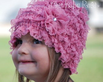 The Original Toddler  Lace Ruffle Flapper Beanie by Chic Baby Rose in 21 Colors