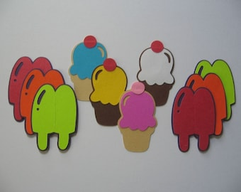 Lot of Popscicle and Ice Cream Cone diecuts