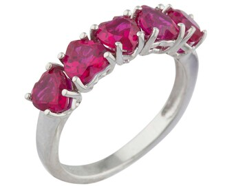 5 Hearts Ruby Heart Ring .925 Sterling Silver Rhodium Finish