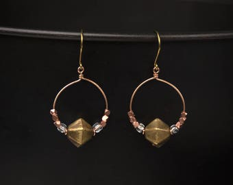 Sparkly boho hoop, Mixed metal earrings, bronze, brass, copper, glass, Rose gold tone bronze, Brutalist goddess, dangle and drop, upcycled