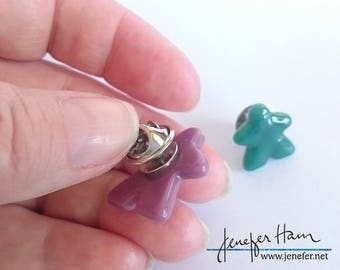 MEEPLE Tie Tack * Badge * Pin * Brooch! super cute meeple glass tack / pin made by Jenefer Ham