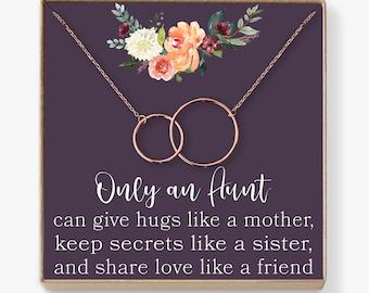 Aunt Necklace: Auntie, Aunt Gift, Aunt Charm, Aunt Jewelry, New Aunt, Best Auntie Ever, My Aunt Loves Me, 2 Interlocking Circles