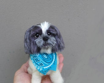 Custom Pet Portrait / Felted Miniature Sculpture of your pet Cute/ Personalized Art for Pet Lovers / example Shih Tzu / Gift Cute