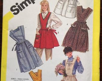 Women's apron pattern, vintage apron styles, unique aprons, bib aprons, cover-all aprons, appliqued aprons, lace trimmed aprons