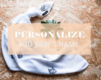 Muslin cloth, NAME ADD ON, Burp cloth, Swaddle blanket, black and white