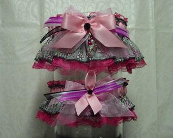 Pink Ribbon Daisy Breast Cancer Awareness Wedding Garter Set
