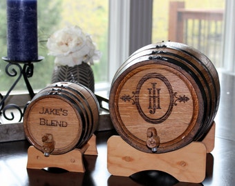 Rustic Whiskey Barrel: 1, 2, 3, 5 or 20 liter Oak Barrel - Personalized Groomsmen Gift, Christmas, Father's Day, Dad, Men's Gifts