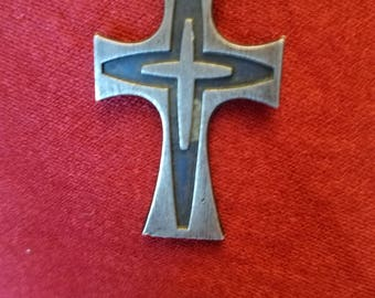 Mid century sterling silver cross pendant