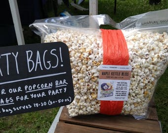 Holiday Party Bag - Gourmet Popcorn - Vermont Made - Serves 30-60 - Maple, Herb, Chipotle, Salt, Chocolate, Vanilla, Pumpkin, Berry & more!