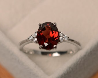 Garnet ring, natural gemstone ring garnet, sterling silver, red garnet ring, January birthstone ring