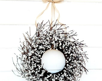 MINI TWIG WREATH-White Mini Window Wreath-Summer Wreath-Country Chic Wall Hanging-Rustic Home Decor-Table Centerpiece-Gifts