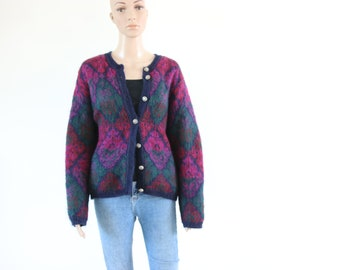 Vintage Pink and Green Cardigan