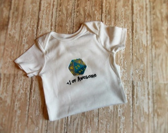 D20 baby bodysuit, Geekbait, MTG baby, RPG outfit, spindown tee, level up, geek baby, Dungeons and Dragons, Magic The Gathering, Nerdy Baby